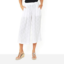 Join Clothes Stretch Jacquard Cropped Wide Leg Trouser