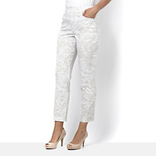 Printed Uptown Stretch Pull On Ankle Trousers by Susan Graver