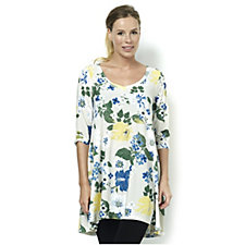 Join Clothes V Neck Floral Printed 3/4 Sleeve Tunic