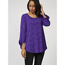 170247 - Antthony Designs 3/4 Sleeve Embellished Tunic with Hi Lo Curved Hem
