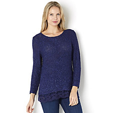 Soft Boucle Jumper with Lace Hem by Michele Hope