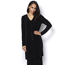 Kim & Co Slinky Long Sleeve Duster Cardigan with Side Slits
