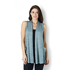 Logo by Lori Goldstein Space Dye Waistcoat with Satin Trim Detail