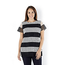 Isaac Mizrahi Live Striped Lace Front Top with Jersey Back