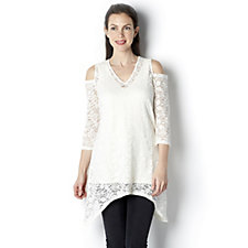 Cold Shoulder Lace Tunic with Camisole by Michele Hope