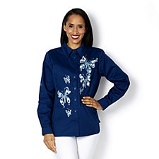 Bob Mackie Jewelled Butterfly Embellished Shirt