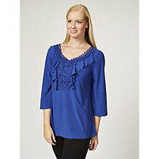 Antthony Designs 3/4 Sleeve Ruffle Front Tunic