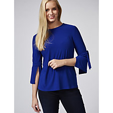 Every Day Textured Liquid Knit Top with Tie Sleeves by Susan Graver