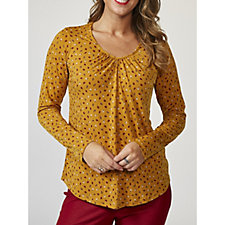 Kim & Co Peppers Brazil Knit Long Sleeve V Neck Top