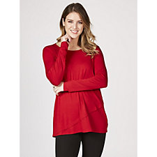 Anthhony Designs Long Sleeve Tunic with Asymmetric Overlay Front