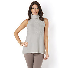 MarlaWynne Cable Sleeveless Turtle Neck Top