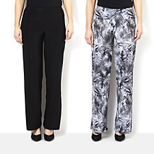 Attitudes by Renee Pack of Print & Plain Jersey Wide Leg Trousers
