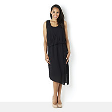 H by Halston Draped Chiffon Layered Sleeveless Jersey Dress