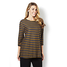 Isaac Mizrahi Live Stripe Top with Closure Detail on Shoulder
