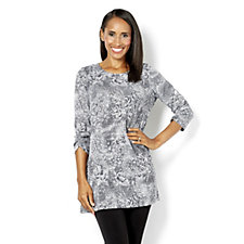 Kim & Co Animal Floral Knit 3/4 Sleeve Tunic with Ruched Sleeve