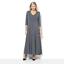 Join Clothes 3/4 Sleeve V Neck Maxi Dress