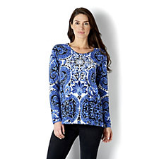 Isaac Mizrahi Live Painted Scroll Print Top with Pleated Back