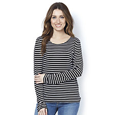 Betty & Co Round Neck Long Sleeve Stripe Print Top