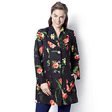 Dennis Basso Water Resistant Floral Print Jacket