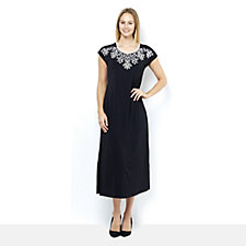 Bob Mackie Jersey Maxi Dress with Short Sleeves