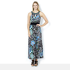 Ronni Nicole Sleeveless Printed Maxi Dress with Beaded Neckline