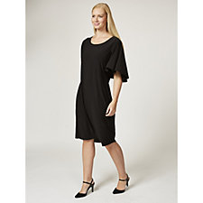 Antthony Designs Short Sleeve Capelet Dress with Hi Lo Hem