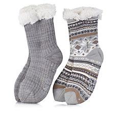 Muk Luks Jojoba Lined Cabin Socks 2 Pack with Gift Bag
