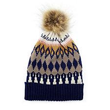 Pia Rossini Aspen Hat with Faux Fur Bobble