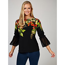 Printed Liquid Knit Top with Chiffon Sleeves by Susan Graver
