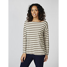 MarlaWynne Striped Long Sleeve Box Top
