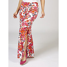 Kim & Co Fresh Bouquet Shantung Side Slits Relaxed Trousers