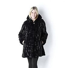 Dennis Basso Reversible Faux Fur Hooded Coat