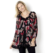 Fashion by Together Butterfly Print Georgette Tunic & Cami Set