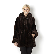 Dennis Basso Faux Fur Hooded Coat with Print Lining & Drawstring Waist