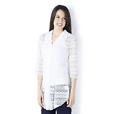 Lace Detail Dip Back Hem 3/4 Sleeve Shirt by Michele Hope