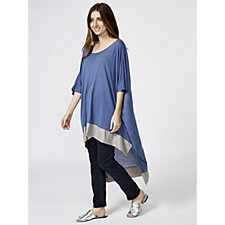 Join Clothes Round Neck Contrast Hem Raised Front Dip Back Tunic
