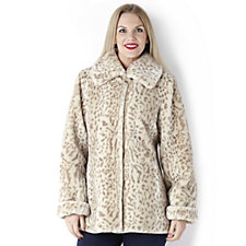Dennis Basso Animal Print Faux Fur Coat with Printed Lining