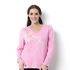 Quacker Factory Zen Garden Embellished V-Neck Top