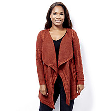 Absolutely Famous Brushed Cable Patchwork Cascade Cardigan