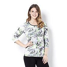 Outlet Mr Max 3/4 Sleeve Animal Print Top