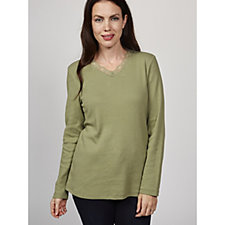 Denim & Co. Ribbed Long Sleeve V Neck Top with Lace Trim
