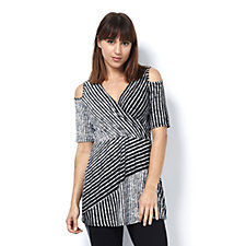 Grace V Neck Cold Shoulder Striped Tunic