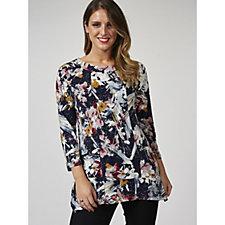 3/4 Raglan Sleeve Printed Tunic with Side Draped Pockets by Nina Leonard