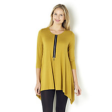 Yong Kim Modal 3/4 Sleeve Tunic with Zip Front