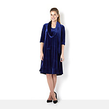 Join Clothes Velvet Scoop Neck Dress & Matching Scarf
