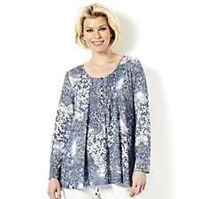 Together Dusky Denim Lace Print Top