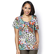 Kim & Co Clustered Floral Brazil Knit Flared Sleeve Top