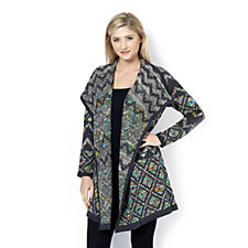 Absolutely Famous Space Dye Mixed Jacquard Drape Front Cardigan