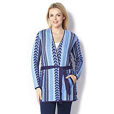 Isaac Mizrahi Live Knitted Mixed Cable Jacquard Cardigan with Tie Belt