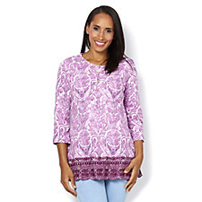 Isaac Mizrahi Live 3/4 Sleeve Embroidered Knit Tunic